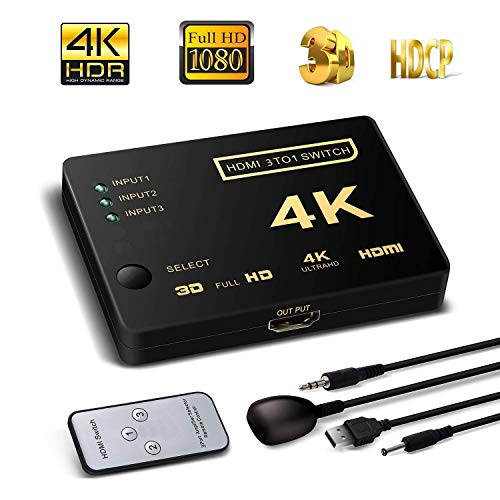 HDMI Switch HD x 4K, 3 Entrada 1 Salida, HDMI Conmutador Splitter para PS5 PS4 PS3 Xbox Nintendo Switch DVD BluRay Decodificador...