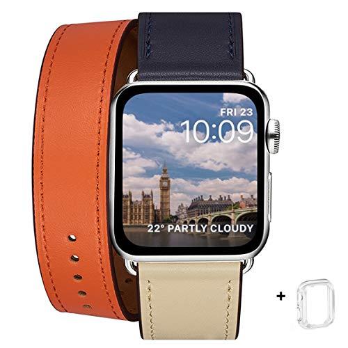 WFEAGL コンパチブル Apple Watch バンド, は本革を使い, iwatch series 5/4/3/2/1 レザー製,Sport/Edition向けのバンド交換ストラップです コンパチブル アップルウォッチ バンド (38mm 40mm, 二重巻き型 アイボリー/オレンジ/ブルー)