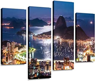 Canvas Print Artwork Night View of Sugarloaf Mountain and Botafogo in Rio de Janeiro With Wall Art Pictures Framed Digital...