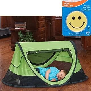 KidCo Peapod Plus Portable Travel Bed - Kiwi with Happy Face Night Light