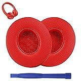 3 almohadillas de repuesto para auriculares Solo compatibles con Beats de Dr.DRE – Beats Solo 2 & Solo 3, inalámbricas, piel suave y espuma de memoria, color rojo