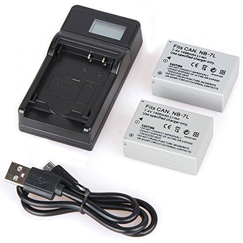 TOOGOO PARA Canon NB-7L 1600mAh 7.4V Bateria y Cargador para Canon PowerShot G10 G11 G12...