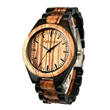 Engraved Wooden Watches, shifenmei S5533 Personalized Wood Watch for Anniversary Birthday Graduation Wedding Design for Husband Boyfriend Love Dad Mom Son Friend Groomsman (A-Zebra Ebony)