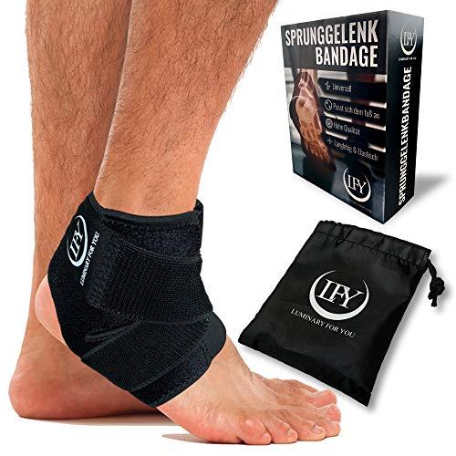 LFY Luminary for you Fußbandage mit der Besonderheit - Elastischen Überkreuz-Zuggurten. Die Einzigartige Sprunggelenkbandage bei Verletzungen