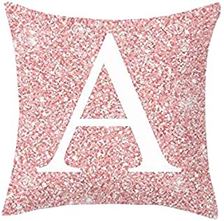 DRAGONHOO Throw Pillow Covers Pink Letter Pattern Pillowcase Alphabet Cushion Case (A)