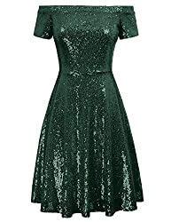 Green Sequin Short Sleeve Off Shoulder Pleated A-Line Dress