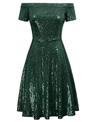 GRACE KARIN Schulterfreies Kleid grün Abendkleider elegant für Hochzeit Damen Linie Kleid CL891-6 2XL