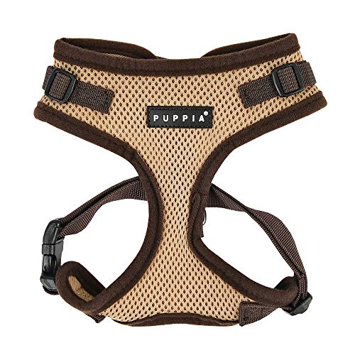 Puppia Authentic RiteFit Harness with Adjustable Neck, Small, Beige