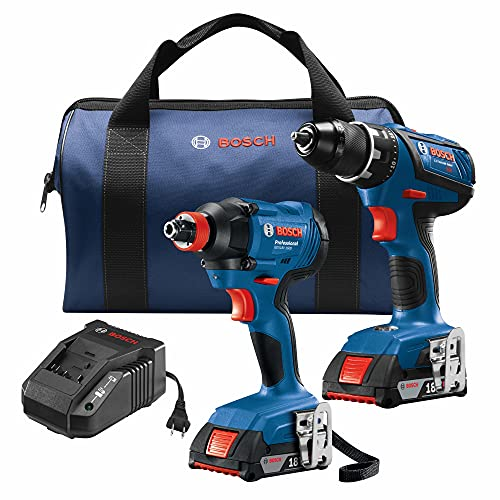 Bosch GXL18V-232B22 18V 2-Tool Combo Kit with Compact Tough 1/2 In. Drill/Driver, 1/4 In. and 1/2 In. Two-In-One Bit/Socket Impact Driver and (2) 2.0 Ah SlimPack Batteries