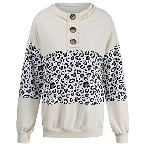Nileco Casual Suelto Saco Lightweight Streetwear Sweatshirt,Mujeres Leopardo Patchwork Sweatshirt,Manga Larga...