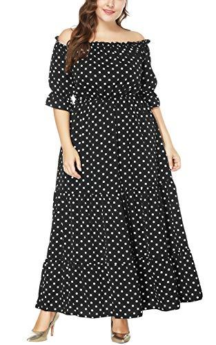 MAGIMODAC Übergröße Kleider Damen Frauen Elegant Off Shoulder Blumen Kleider Cocktailkleid Partykleid Abendkleid Brautkleider Höhe Taille Lang 44 46 48 50 52 54 (Etikett 3XL/EU 48, Schwarz)