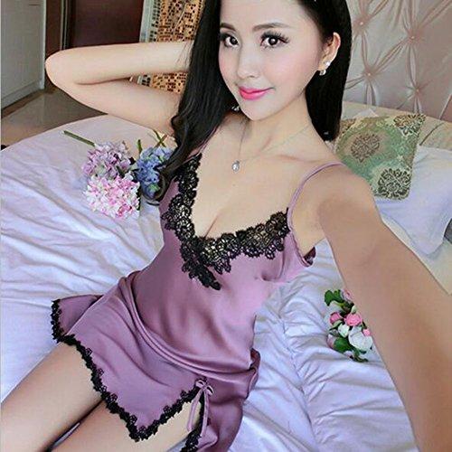 Lou Lou Panties Kleid Sling Pyjamas Nachahmung Seide Frauen Sexy Satin Dessous Babydoll Nachtwäsche Chemise Nachthemd Slip Nachthemd (Color : D, Größe : L)