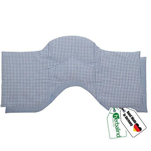 HERBALIND 4-Kammer Wärmekissen Körnerkissen Schulter Nacken 50x20 cm in Karo/blau - 100% Baumwolle - Getreidekissen mit Bio Roggen- und Weizen Füllung für Mikrowelle - Geschenk für Männer
