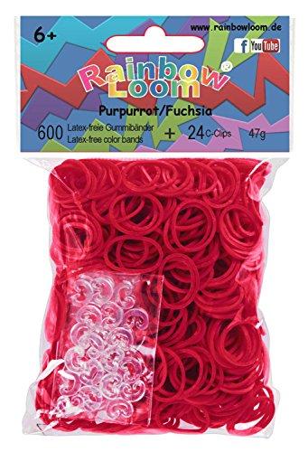 Rainbow Loom 20617 - Original Gummibänder, 600 Bänder mit 24 C - Clips, purpur/rot