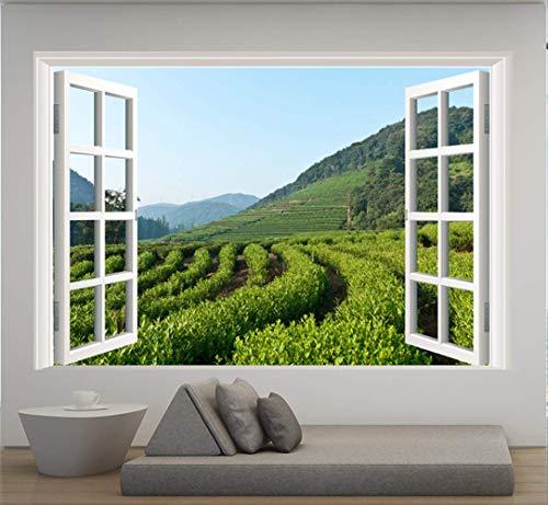 Muurstickers, simulatie raam verse thee tuin thee bergen sticker woonkamer decoratie waterdichte muursticker (60 x 90 cm)