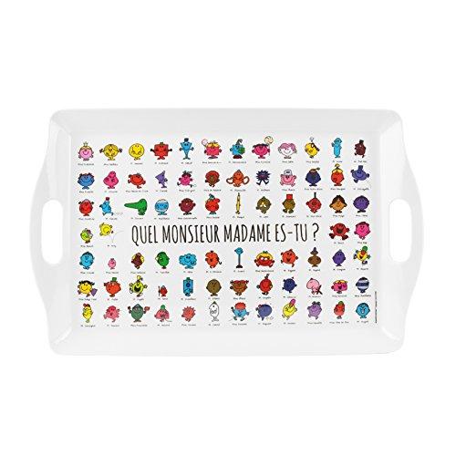 MONSIEUR MADAME MM3110 Plateau rectangulaire de service Quel Monsieur Madame es-tu Blanc noir et multicolore Mélamine H3,5 x 31,5 x 50,5 cm