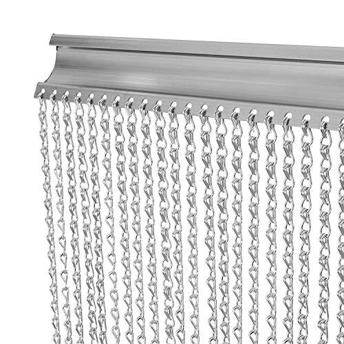Cortina de cadena, VerRich 90 * 204.5cm Pantalla de cadena de mosca Cortina de puerta de eslabón de cadena de metal plateado para interiores y exteriores