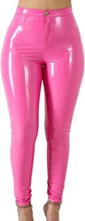 VNVNE Women's Sexy Hight Waist Latex Pants PU Leather Lined Legging Wet Look Trousers