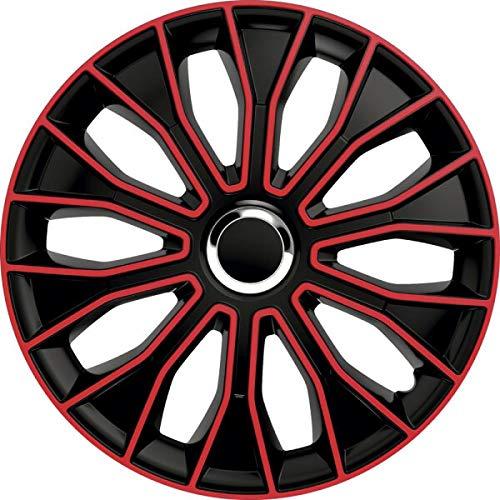 kh Teile Tapacubos de 15 pulgadas Voltec Pro, color negro y rojo, de 15 pulgadas, 2 capas lacadas, juego completo de 4 unidades