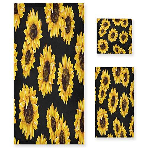 xigua Juego de 3 toallas de baño con flores de girasol, diseño floral, color negro, ultra suave, toalla de mano para spa, ducha, bañera o regalo cálido