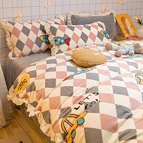 flannel set,Coral fleece four-piece thickened double-sided winter milk-Fish Fun_1.5m bed sheet 200 * 230cm 4pcs