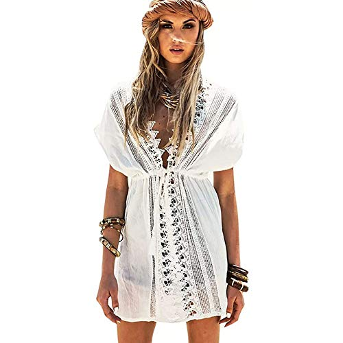 Lazz1on Damen Strandkleid Sommer Strandponcho Sexy Sommerkleid Bikini Badeanzug Cover Up V-Ausschnitt