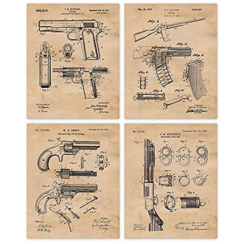 Vintage Remington Guns Patent Poster Prints, Set of 4 (8x10) Unframed Photos, Wall Art Decor Gifts Under 20 for Home, Office, Studio, Garage, Man Cave, Student, Teacher, Cowboys, Movies & NRA Fan