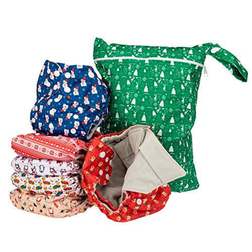 Simple Being Reusable Cloth Diapers- Double Gusset-6 Pack Pocket Adjustable Size-Waterproof Cover-6 Inserts-Wet Bag (Christmas)