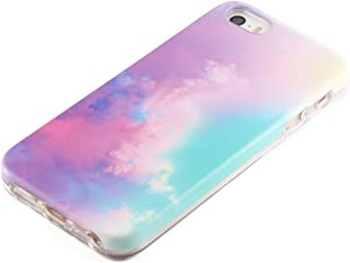 Pastel Gradient Compatible for iPhone SE 5S 5 Protective case uCOLOR Abstract Cloud for iPhone SE 5S 5 Dual Layer Protection Tough Case