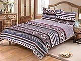 Linen Mart Southwest Aztec Sherpa Borrego Fleece Blanket - 3 Piece Set (Gray)