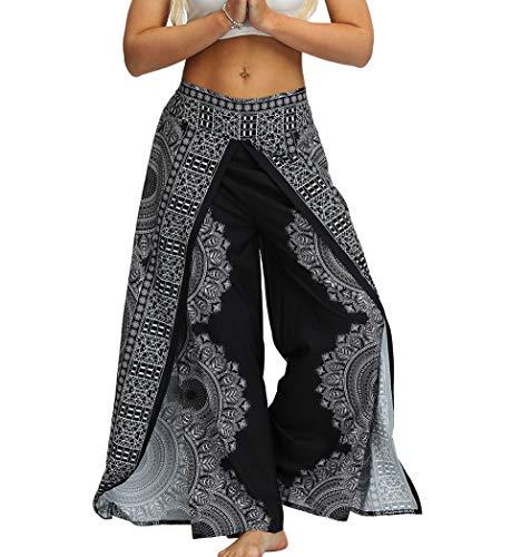 MsAnya Womens Palazzo Slit Wide Leg Pants Summer Casual Beach Boho Hippie Bohemian Pilate Plus Size 10-18 (NewBK, L/XL(Waist=33-38''))