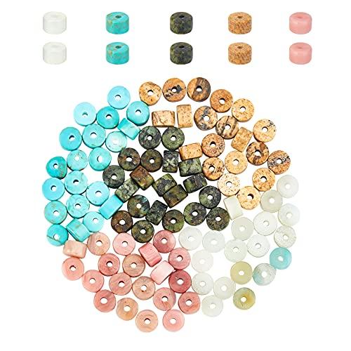 NBEADS 100 Stk. Natürliche Heishi Edelstein perlen 4mm Gemischte Heishi Perlen Lose Flache R&e Ungefärbte Perlen Für Armband Halskette Ohrringe Schmuckherstellung Bohrung: 0.7 mm