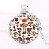 Collar de seta psicodélico con colgante de arte botánico de naturaleza bosque, hippie, joyería de cristal, cabujón medallón redondo gargantilla con impresión 3D