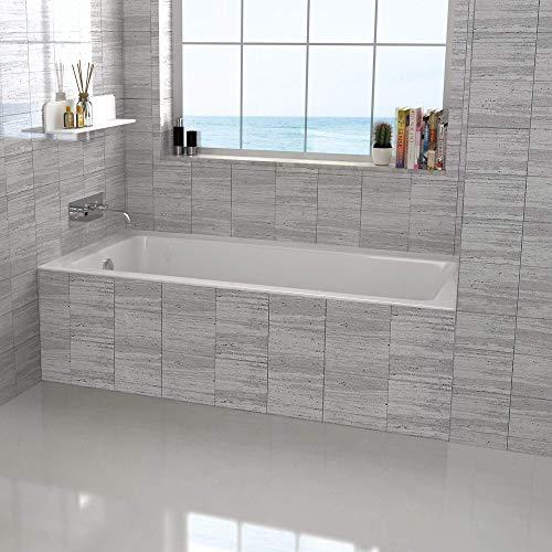 "Fine Fixtures Tile-In White Soaking Bathtub, Built in tile flange Fiberglass Acrylic Material (60"" x 32"