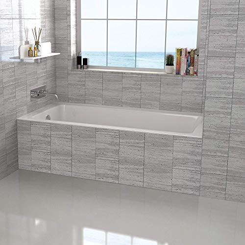 Fine Fixtures Tile-In White Soaking Bathtub, Built in tile flange Fiberglass Acrylic Material (60' x...