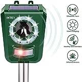 Intey Tiervertreiber, Katzenschreck, Ultraschall, zum Vertreiben von Katzen, Hunden, Vögeln, etc, Solarenergie und USB-Kabel für Garten und Felder – Ultraschall und LED