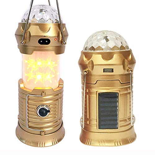 4 in 1 Rechargeable Camping Lantern, Portable Flashlight, Solar Powered Retractable Star Lantern, Stage Light, Camping Tent Lantern for Halloween Christmas Outdoor Camping Hiking Dance Parties
