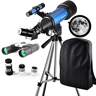 Telescope Travel Scope 70mm Refractor Telescope & 10X25 Binoculars for Kids and Astronomy Beginners for Moon Viewing Bird Watching Hiking Outdoor Games Camping - with Backpack for Carry Easy