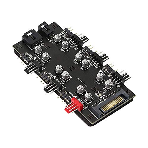 Katigan 12V 4Pin PWM/ARGB con SATA 15Pin Power 2-In-1Hub 6 Ventilador de RefrigeracióN de CPU SimultáNeo Utilizado para Expandir la Interfaz de la Placa Base