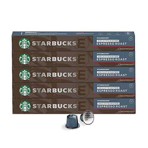 Nespresso Starbucks by Nespresso, Café Espresso Roast Decaffeinato, Paquete de 50 cápsulas de Sistema Original, Robusto y audaz, 285 mililitros