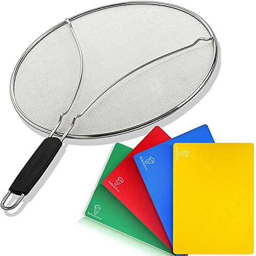 Splatter Screen for Frying Pan 13 inch & 4 Flexible Cutting Boards - Grease Splatter Guard Shield - Protects & Stops Hot Oil Splash - Use for Cooking Bacon - Kitchen Tools for Frying Pan