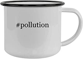 #pollution - 12oz Hashtag Camping Mug Stainless Steel, Black