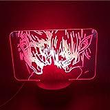3D luz de noche 3D acrílico luz anime ataque a Titan blindado Titan vs Eren Jaeger LED noche luz para niños LED 3D dormitorio escritorio luz ZGTH