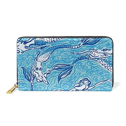 Cute Mermaid Fishes Blue Art Leather Womens Zipper Wallets Clutch Coin Case
