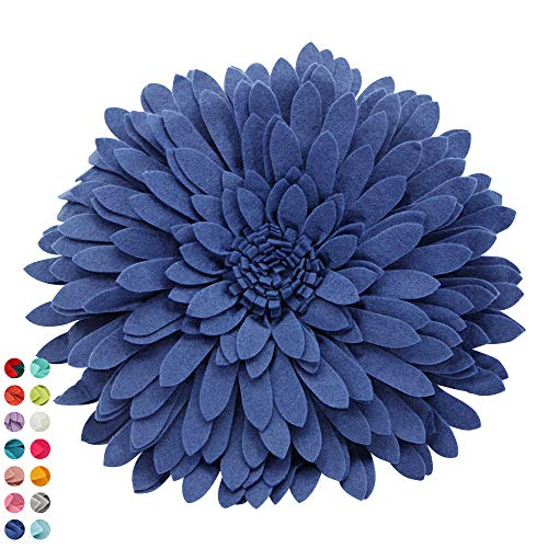 Flower Decorative Pillow - 3D Daisy Flower Pillow, Sunflower Throw Pillow -14.5 x 13 inch Round Decor Pillow - Flower Home Decorations - Couch & Bed Flower-Shaped Pillow (Case + Insert, Solid Navy)