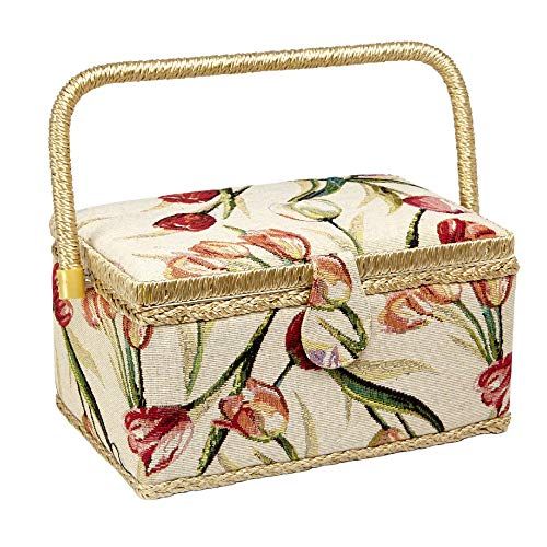 Sale!! Sewing Basket with Tulip Floral Print Design- Sewing Kit Storage Box with Removable Tray, Bui...