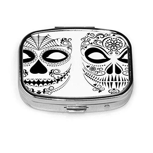 Halloween Set Square Metal Pill Box or Organizer Holder Pocket Or Wallet Organizer Case Traveling