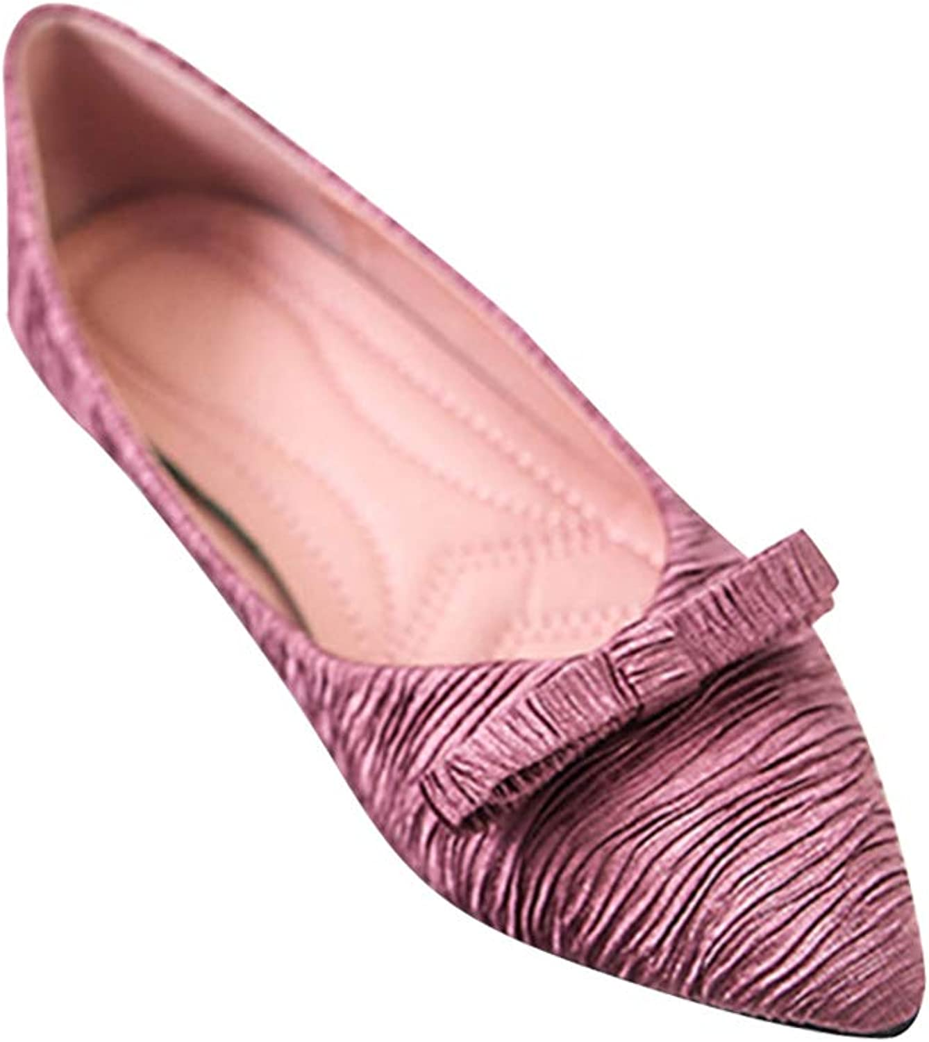 Yudesun Women Ballet Flats shoes - Pointed Single Fold Up Shallow Mouth Casual Slip On Bow Loafers Walking Office Girl shoes