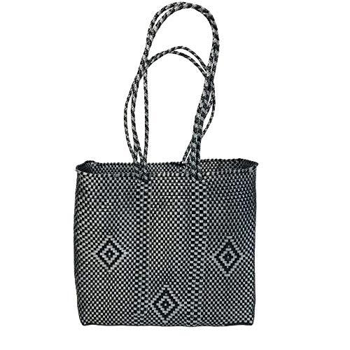OTOMI MEXICO - Bolsa de compras - Plástico reciclado - Azul - 33 x 31 x 11 cm - bolso de playa - Bolso Negro de playa