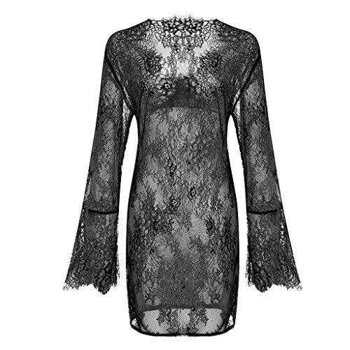 Camicia da Notte Donna Babydoll Pigiama Aumenta la Simulazione Camicia da Notte di Seta Abito Estivo a Maniche Lunghe Vestiti per la casa Sexy